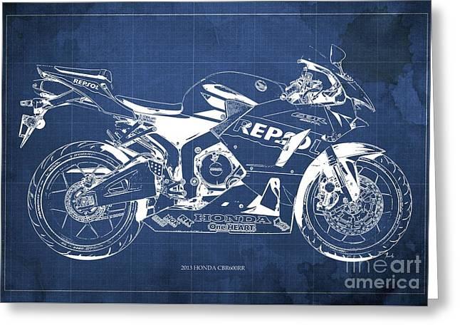 2013 Honda Cbr600rr Blueprint, Blue Vintage Background, Gift For Him Greeting Card by Pablo Franchi