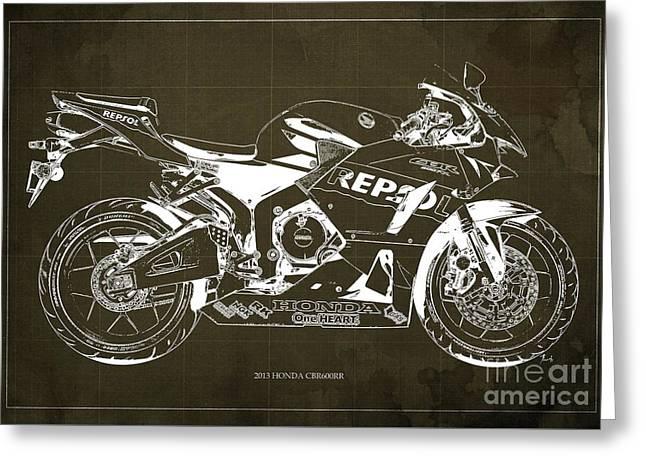 2013 Honda Cbr600rr Blueprint, Brown Vintage Background, Gift For Him Greeting Card by Pablo Franchi