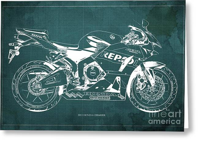 2013 Honda Cbr600rr Blueprint, Green Vintage Background, Gift For Him Greeting Card