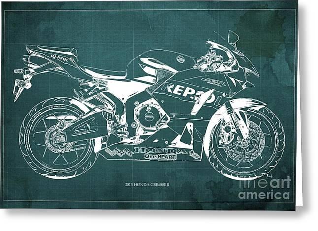2013 Honda Cbr600rr Blueprint, Green Vintage Background, Gift For Him Greeting Card by Pablo Franchi