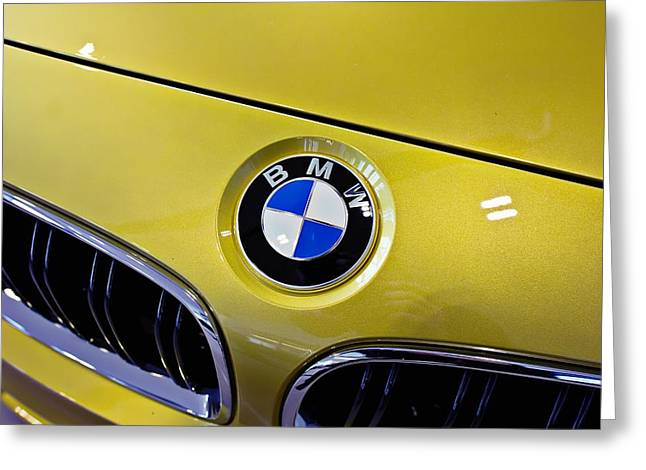 Greeting Card featuring the photograph 2015 Bmw M4 Hood by Aaron Berg