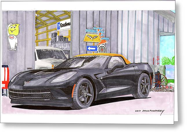 Greeting Card featuring the painting 2014 Corvette And Man Cave Garage by Jack Pumphrey