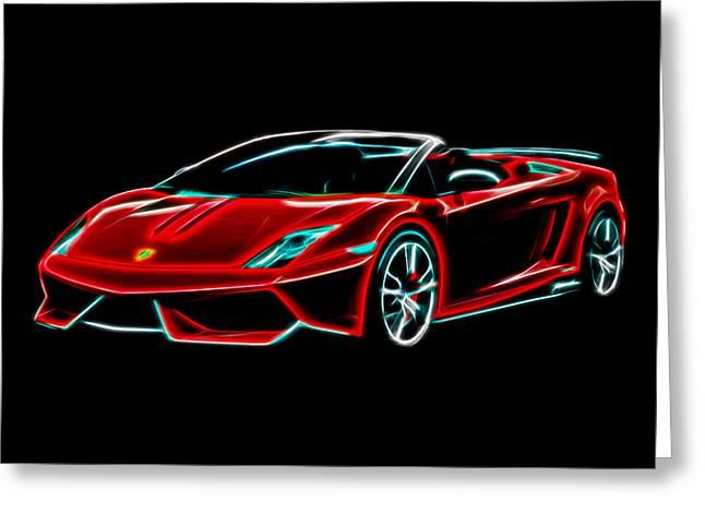 Greeting Card featuring the digital art 2014 Lamborghini Gallardo by Aaron Berg