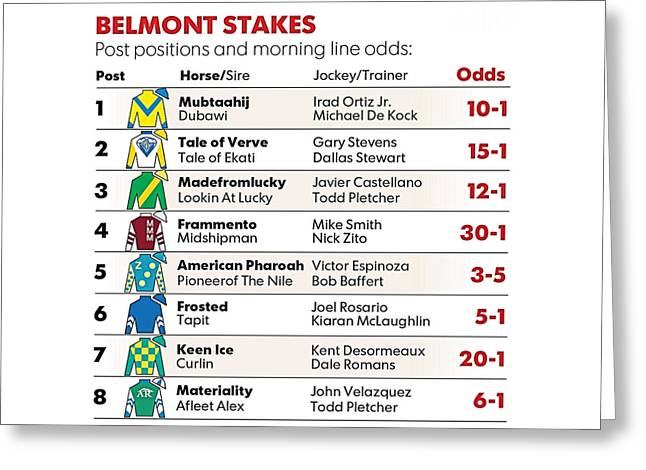 2015 Belmont Stakes Entries Greeting Card by  Newwwman
