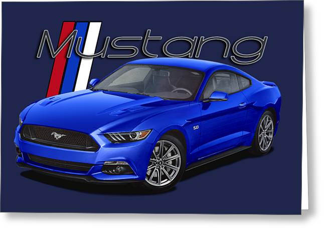 2015 Blue Mustang Greeting Card