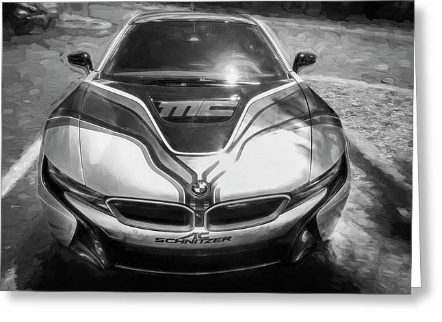 2015 Bmw I8 Hybrid Sports Car Bw Greeting Card by Rich Franco