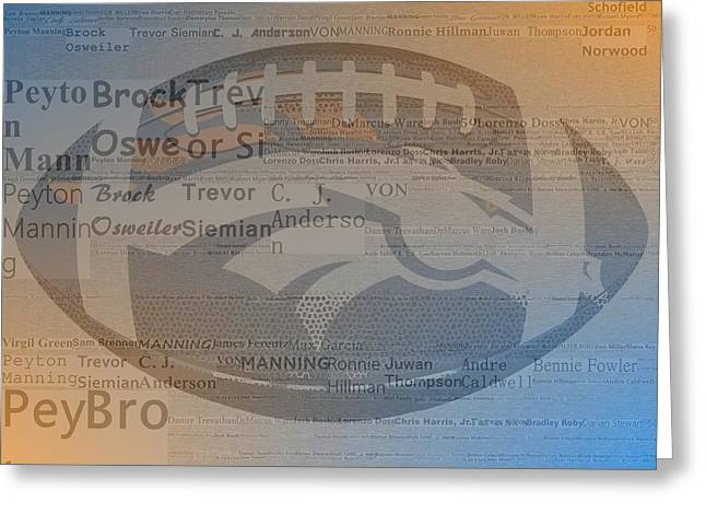 2015 Denver Broncos Players Greeting Card by Dan Sproul
