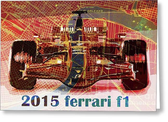 2015 Ferrari Formula 1 On New Orleans Old Map Greeting Card