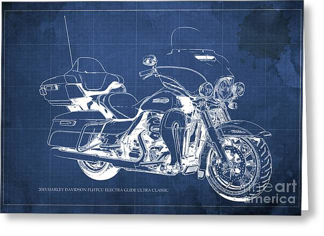 2015 Harley Davidson Flhtcu Electra Glide Ultra Classic Blueprint Blue Background Greeting Card