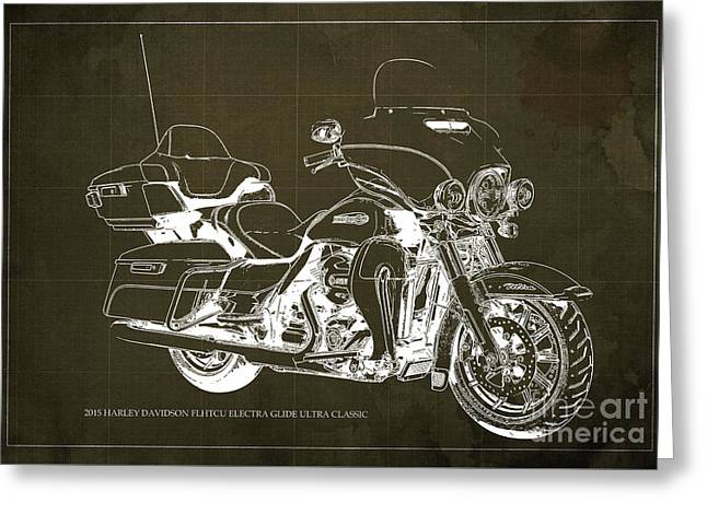 2015 Harley Davidson Flhtcu Electra Glide Ultra Classic Blueprint Brown Background Greeting Card by Pablo Franchi
