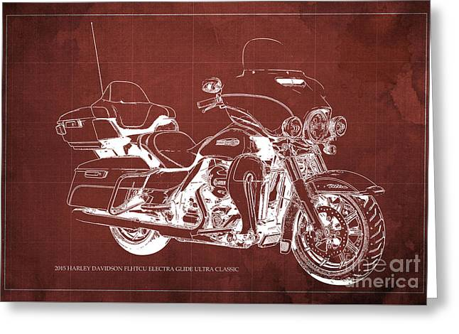 2015 Harley Davidson Flhtcu Electra Glide Ultra Classic Blueprint Red Background Greeting Card
