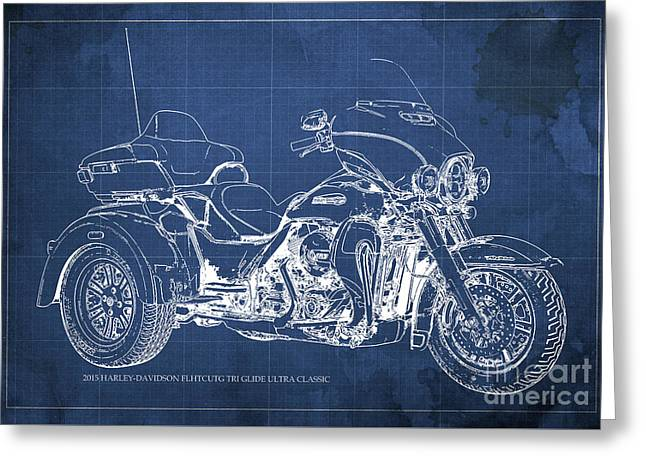 2015 Harley-davidson Flhtcutg Tri Glide Ultra Classic Blueprint Blue Background Greeting Card