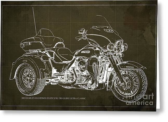 2015 Harley-davidson Flhtcutg Tri Glide Ultra Classic Blueprint Brown Background Greeting Card