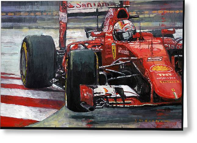 2015 Hungary Gp Ferrari Sf15t Vettel Winner Greeting Card by Yuriy Shevchuk