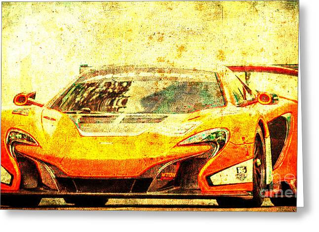 2015 Mclaren 650s Gt3 Race Car, Red Car, Vintage Poster Greeting Card by Pablo Franchi