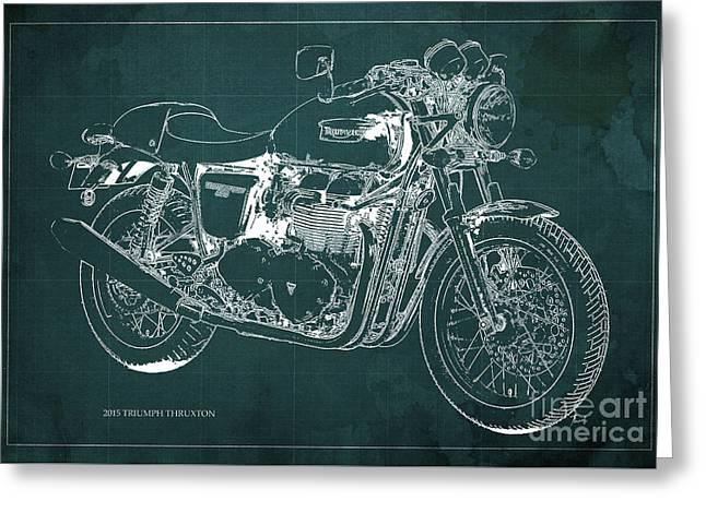2015 Triumph Thruxton Blueprint Green Background Greeting Card by Pablo Franchi