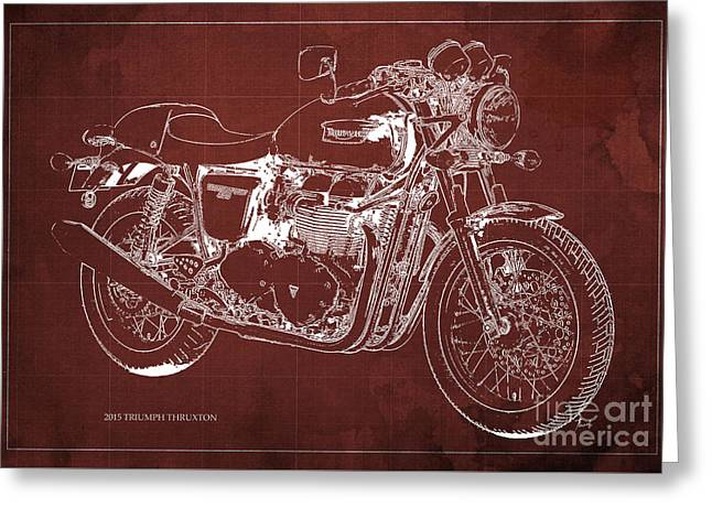 2015 Triumph Thruxton Blueprint Red Background Greeting Card by Pablo Franchi