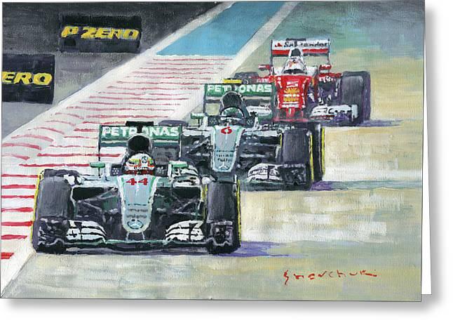2016 Abu Dhabi Gp Mercedes Hamiltom Rosberg Ferrari Vettel Greeting Card