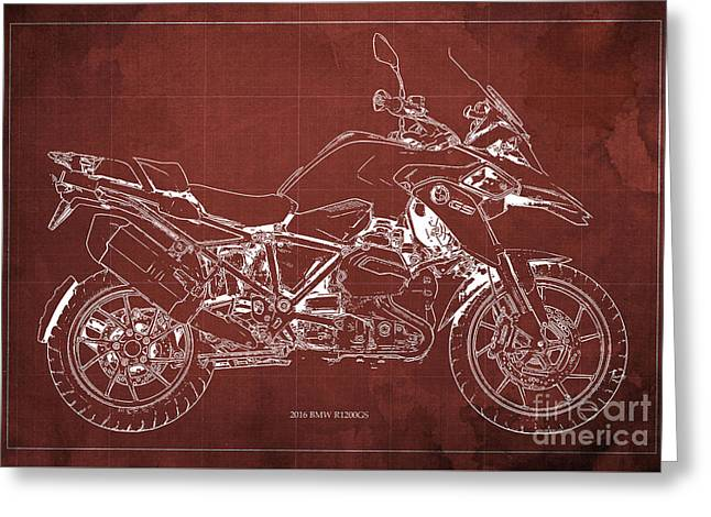 2016 Bmw R1200gs Blueprint Red Background Greeting Card