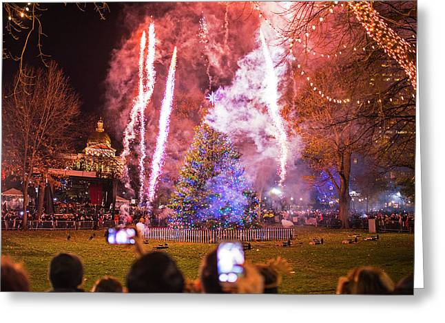 2016 Boston Common Christmas Tree Lighting Boston Ma Fireworks Greeting Card by Toby McGuire