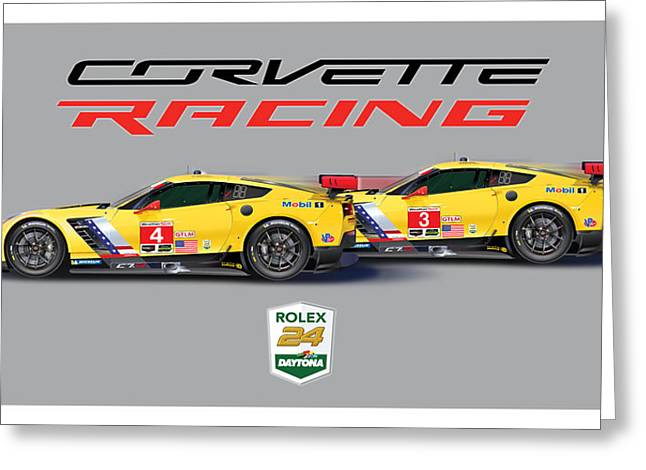 2016 Daytona 24 Hour Corvette Poster Greeting Card by Alain Jamar