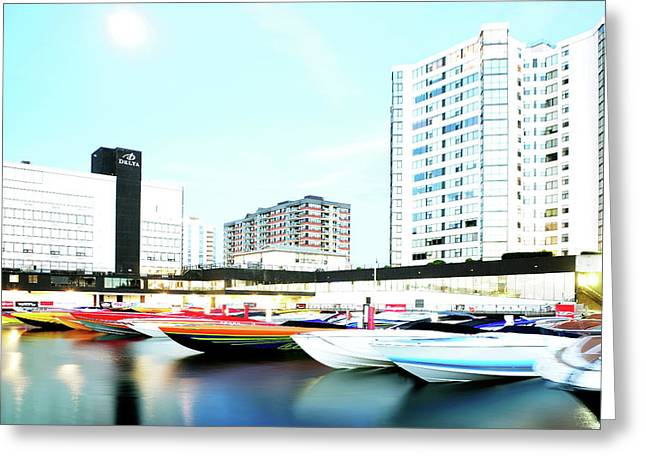 2016 Early Morning Poker Run Boats Overexposed And Massaged Greeting Card