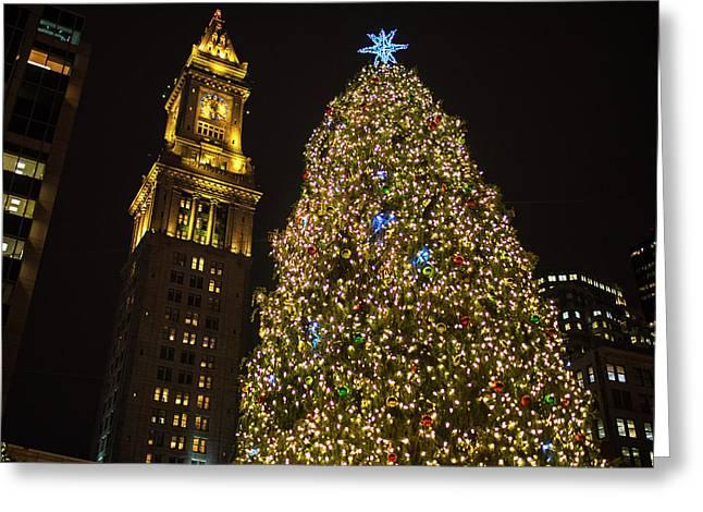 2016 Fanueil Hall Christmas Tree Boston Custom House Boston Ma Greeting Card by Toby McGuire