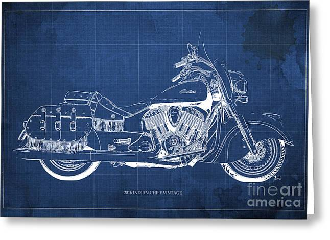 2016 Indian Chief Vintage Motorcycle Blueprint, Blue Background Greeting Card