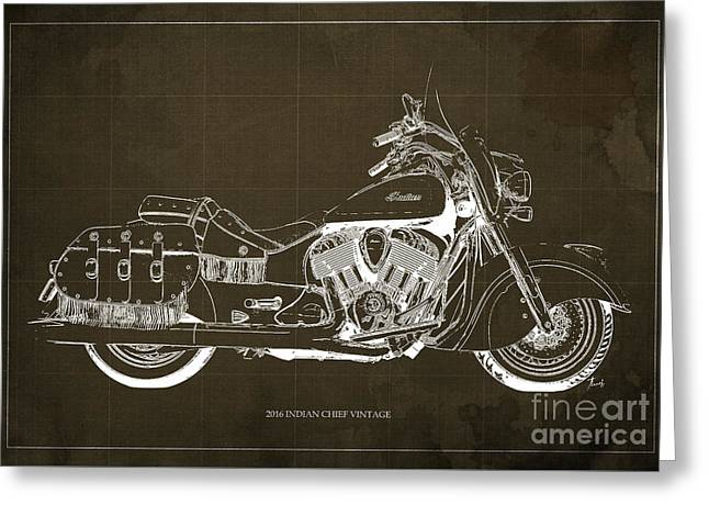 2016 Indian Chief Vintage Motorcycle Blueprint, Brown Background Greeting Card