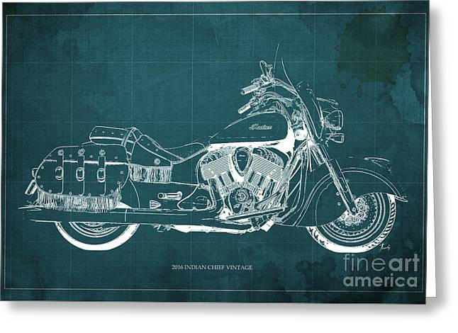2016 Indian Chief Vintage Motorcycle Blueprint, Green Background. Gift For Men Greeting Card