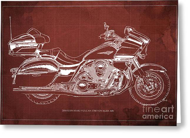 2016 Kawasaki Vulcan 1700 Voyager Abs  Blueprint  Red Background Greeting Card by Pablo Franchi