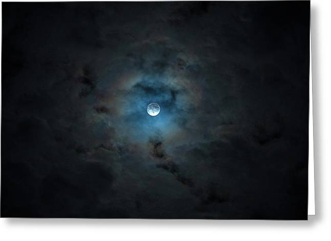 2016 Super Moon Behind Clouds Greeting Card by Will Leffert