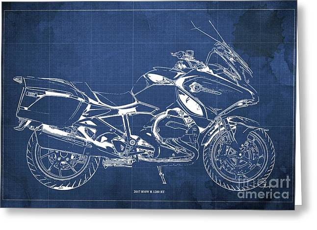 2017 Bmw R 1200 Rt Blueprint Blue Background Office And Man Cave Decoration Greeting Card