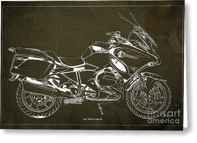 2017 Bmw R 1200 Rt Blueprint Brown  Background Office And Man Cave Decoration Greeting Card
