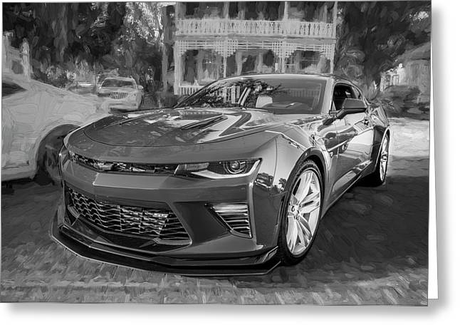 Greeting Card featuring the photograph 2017 Chevrolet Camaro Ss2 Bw by Rich Franco