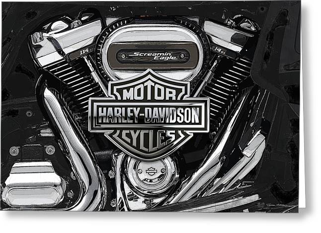Greeting Card featuring the digital art 2017 Harley-davidson Screamin' Eagle Milwaukee-eight 114 Engine With 3d Badge by Serge Averbukh
