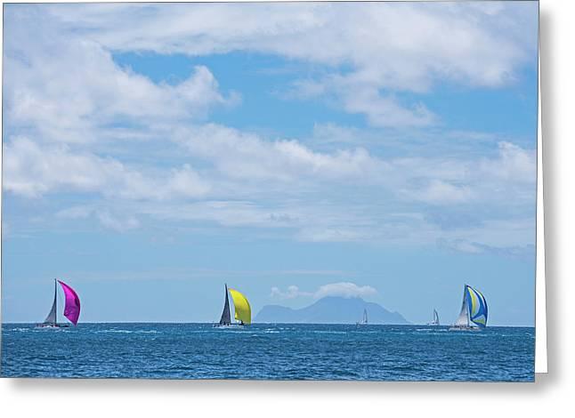 2017 Heineken Regatta Sailing Past Saba Saint Martin Sint Maarten Greeting Card