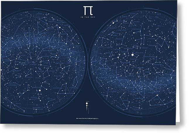 2017 Pi Day Star Chart Azimuthal Projection Greeting Card by Martin Krzywinski