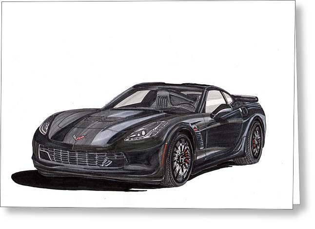 2017 Triple Black Corvette Greeting Card by Jack Pumphrey