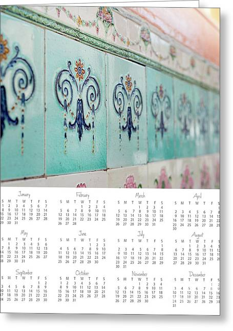 Greeting Card featuring the photograph 2017 Wall Calendar Blue Ceramic Tiles by Ivy Ho