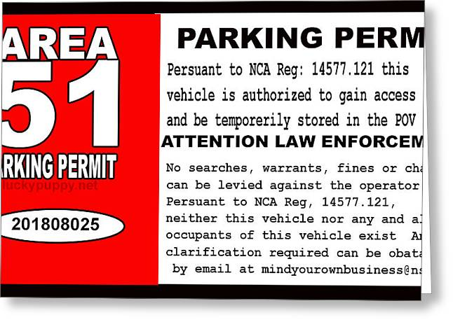 2018 Area 51 Parking Permit Greeting Card