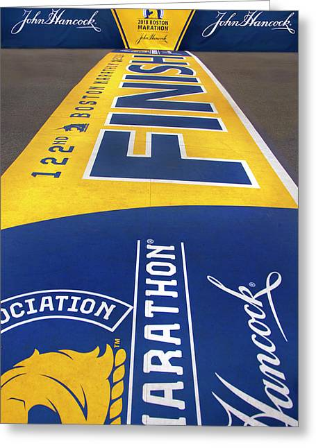 Greeting Card featuring the photograph 2018 Boston Marathon Finish Line by Joann Vitali