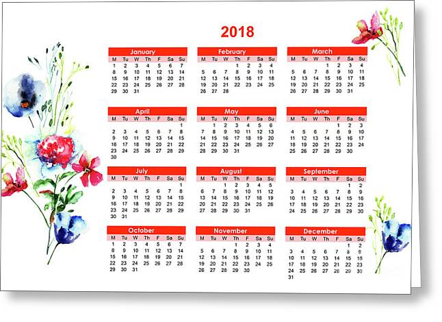 2018 Calendar With Stylized Flowers Greeting Card