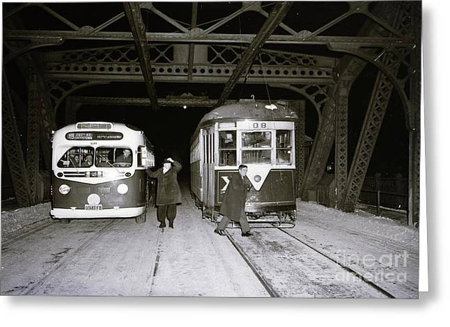 Greeting Card featuring the photograph 207th Street Crosstown Trolley by Cole Thompson