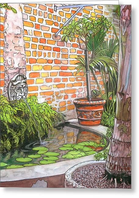 21   French Quarter Courtyard With Reflection Pool Greeting Card by John Boles