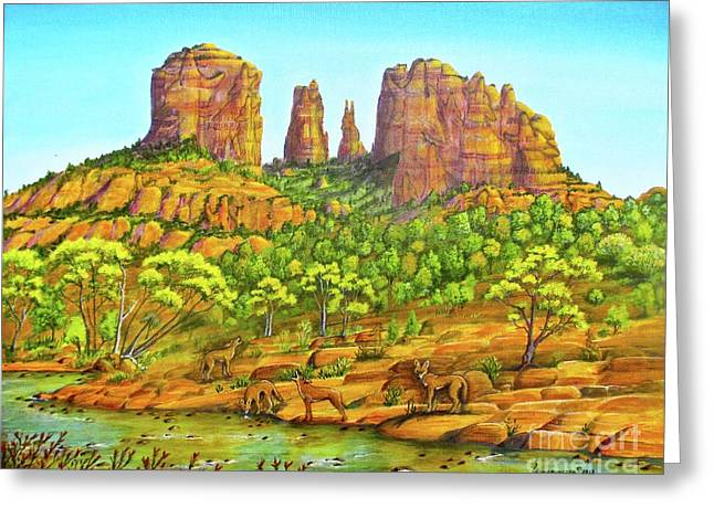 21 Coyotes Of Sedona Arizona Greeting Card