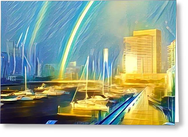 Docklands Double Rainbow Greeting Card by GabyDuval Image and Design