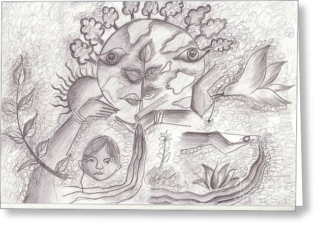 Save Our Planet Drawings Greeting Cards - 21 Greeting Card by Megha Ambaliya