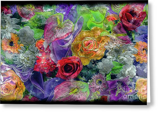 21a Abstract Floral Painting Digital Expressionism Greeting Card