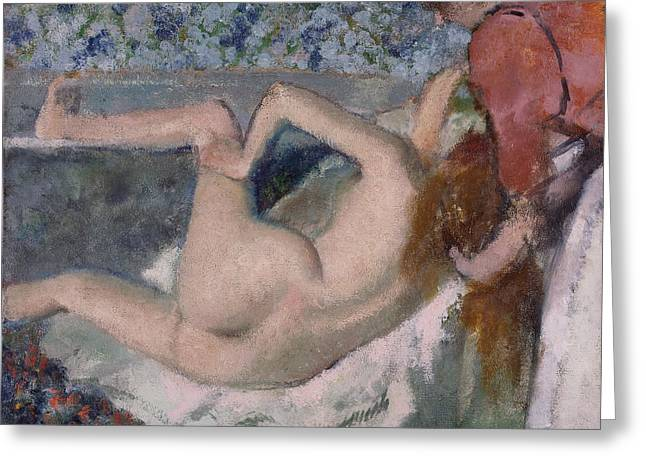 Beauty Pastels Greeting Cards - After The Bath Greeting Card by Edgar Degas